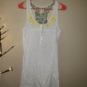 Free People Tank Top w/ Yellow Floral Embroidery